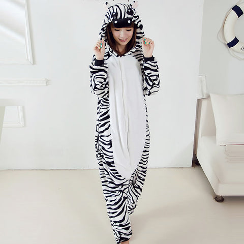 Unisex Adult Cartoon Animal Zebra Pajamas Costume Sleepwear For Men Women