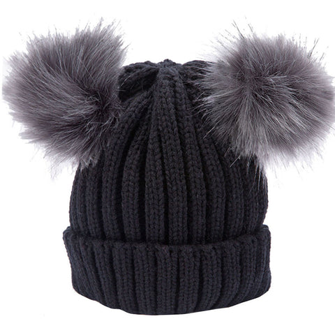 Women Real Fur Pom Pom Hat Autumn Winter Wool Warm Beanie Knitted Skullies