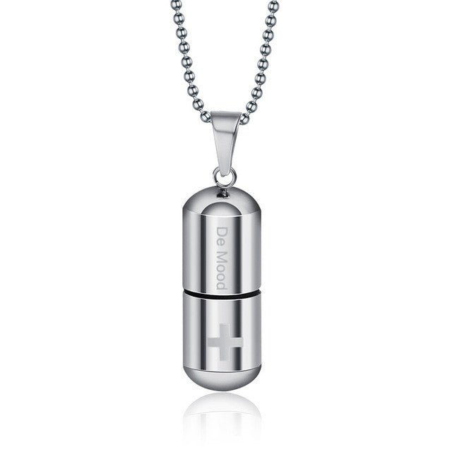 Women/ Men Perfume Bottle Pill Cross Stainless Steel Bead Chain Necklace For Jewelry