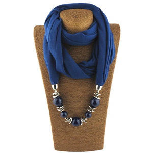 9 Colors Ethnic Unique Scarf Necklaces Resin Beads Pendant