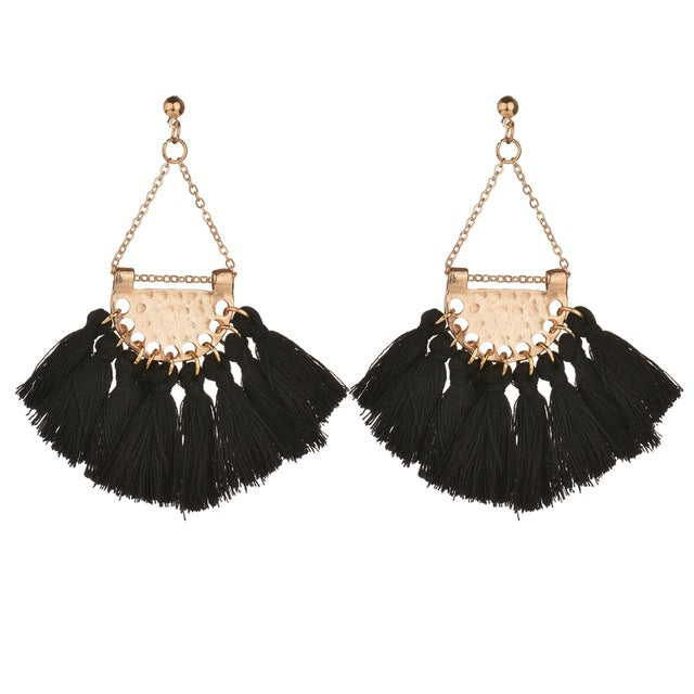 MissCyCy Vintage Drop Earrings Ethnic Sector Tassle Earrings for Women Fashion Jewelry Accessories Gift