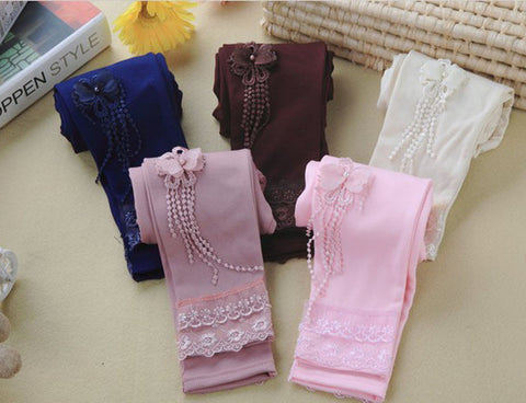 Children Kids girls Leggings Butterfly Lace Pants Girl Leggings