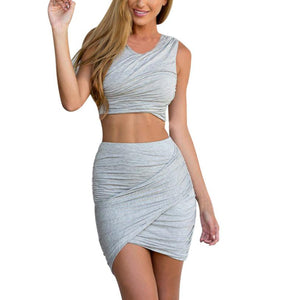 Women Crop Top2 pc  short skirt Set  Vest Split Stretch Satin Suits