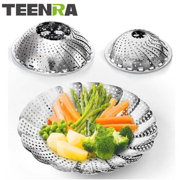 TEENRA Stainless Steel Folding Vegetable Steamer Basket Collapsible Steamer