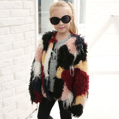 Kids Baby Girls Winter Faux Fur Coat Long sleeve Jacket