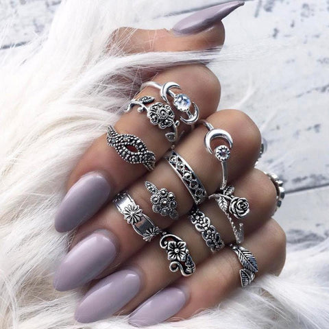 11pcs/Set Women Bohemian Vintage Silver Stack Rings Above Knuckle Blue Rings Set