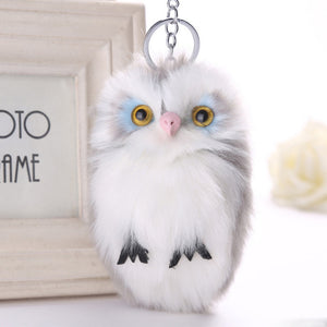 Fluffy Owl Keychain Pendant Women Key Ring Holder Faux Fur Pompoms