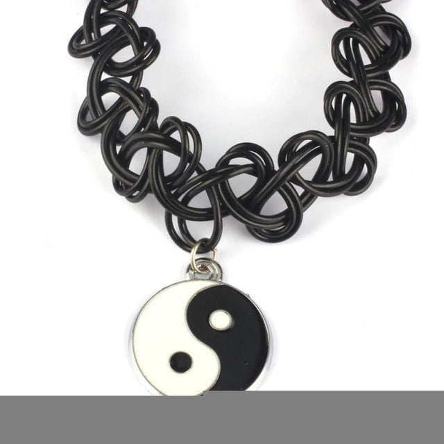 2016 Taiji Bagua necklace Tattoo Choker Necklace Stretch Double Layer Henna