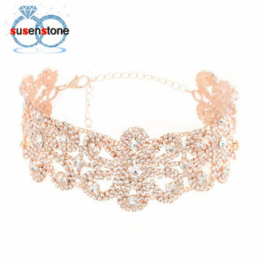 Retro female Big Crystal Flowers Collar Choker Vintage