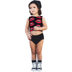 Kids Toddler girls Infant baby Lips Print black top shorts Clothes children clothing Outfit