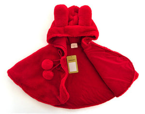 Thick Winter Warm Girls Cloak Cute Cat Hooded Coat newborn Baby jacket 1-3 year