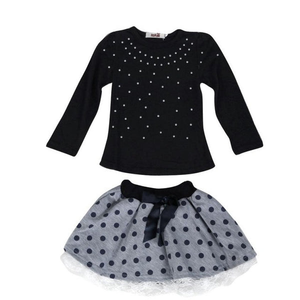 2pcs Suits Pearls Top Dot Lace Short Skirt Girls/ Baby Set