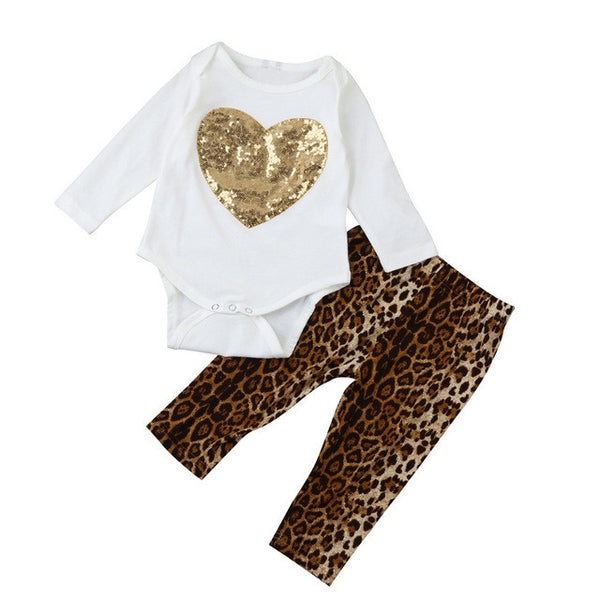 2PC Girls Sequin Heart/Leopard Pants Outfits Set