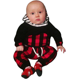 2pcs Toddler Kids Baby Boy Clothes Set Striped Plaid Hoodie Tops+Pants Outfits