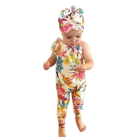 Baby Floral clothes Romper Infant Kids Baby Girls sleeveless Romper Jumpsuit Child Summer Clothes Outfits