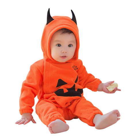 Newborn Infant Baby Boys Girls Halloween Pumpkin Hooded Romper