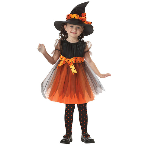 Girls flower party dress Halloween Witch Costume with Hat Bow-knot Tutu Lace outfits dress