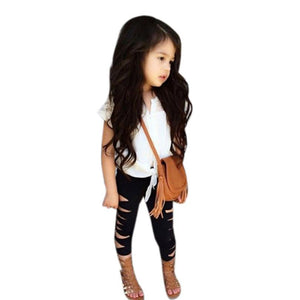 baby girls clothes set White short sleeve T-shirt+ Holes broken Pants Suit fashion