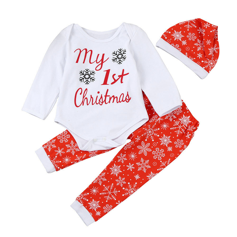 3PCS Autumn Spring Newborn Infant Baby Boy Girl Letter Romper Tops+Pants+Hat Christmas Outfits Set