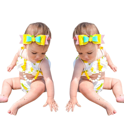 Newborn Baby Girl Clothes Swimming Pineapple printing Ruffle Swimsuit Two Pieces