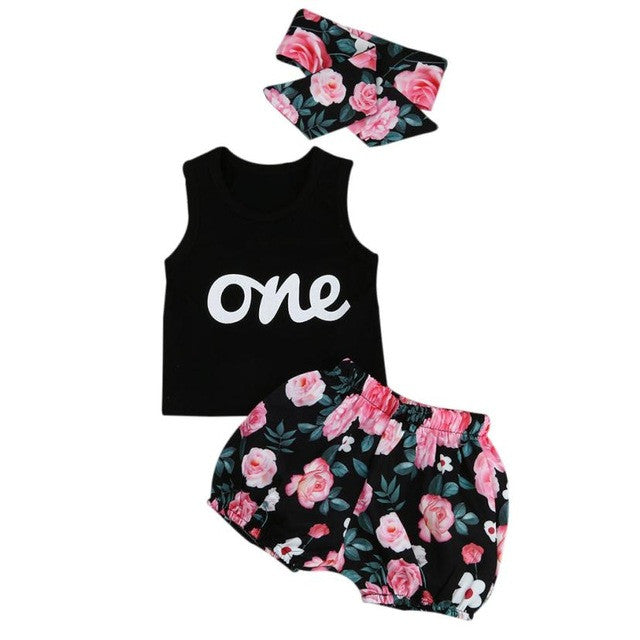 3pcs Toddler Infant Clothes Girls Outfits Letter Print T-shirt+Floral Short Pants+Headband Suit