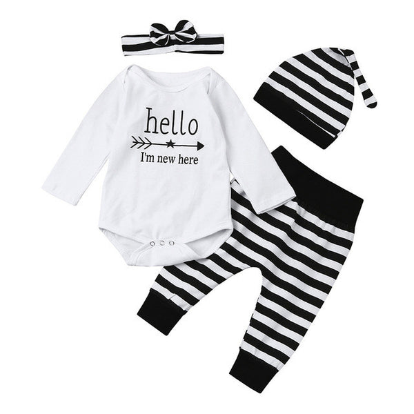 4PCS Newborn Baby Little Girl Romper Hello I'm new here