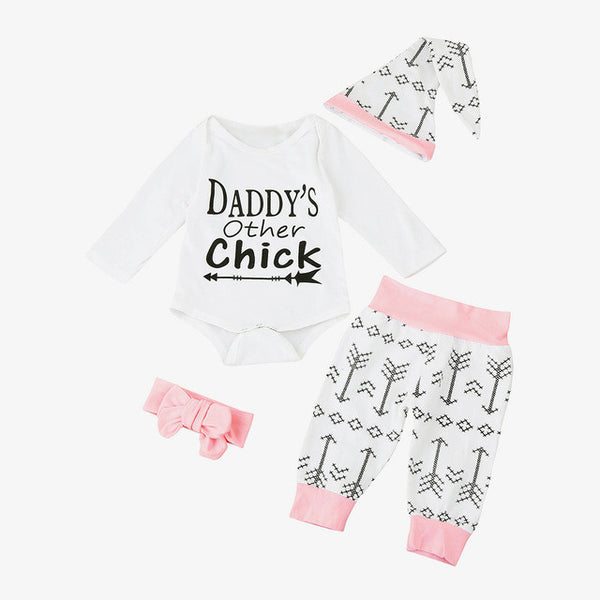 4pcs/Set Baby Romper Suits Infant Toddler Boy Girl Letter Print Romper Jumpsuit+Pants+Hat+Headband