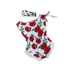 vintage floral cotton baby romper newborn baby girls pompom outfits