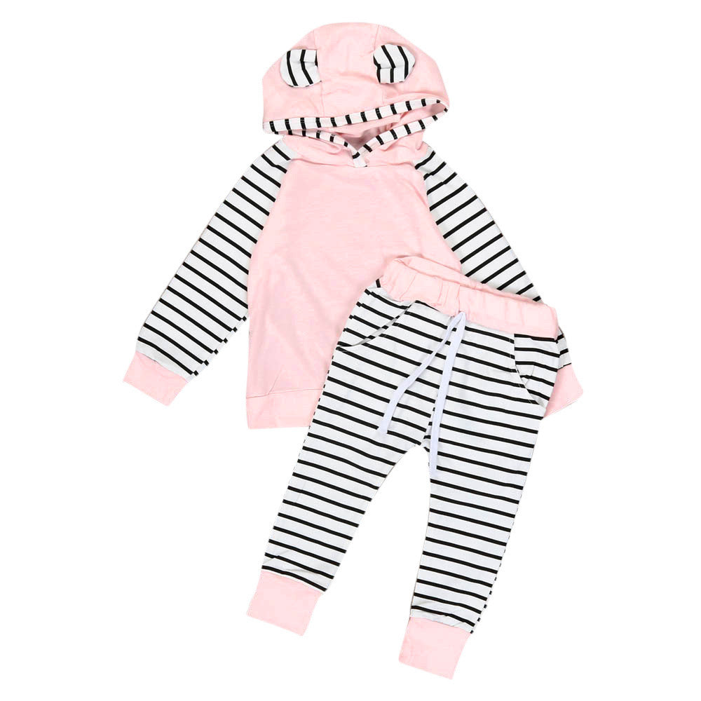 2Pcs/Set Baby Girls boys clothes set Hooded Infant Warm Jacket + Striped Pants