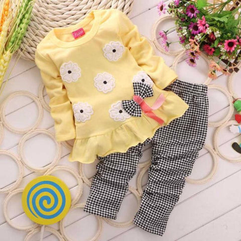 Baby Girl top pants suit Flower Bow plaid kids clothing Trousers Polyester Nylon