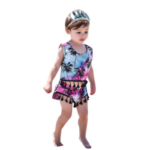 Coconut tree Printed 2pcs Suit Kids Outfits