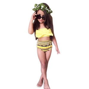 Kids Swimming Costumes Baby Girls Cute Bowknot Swim Wear Set