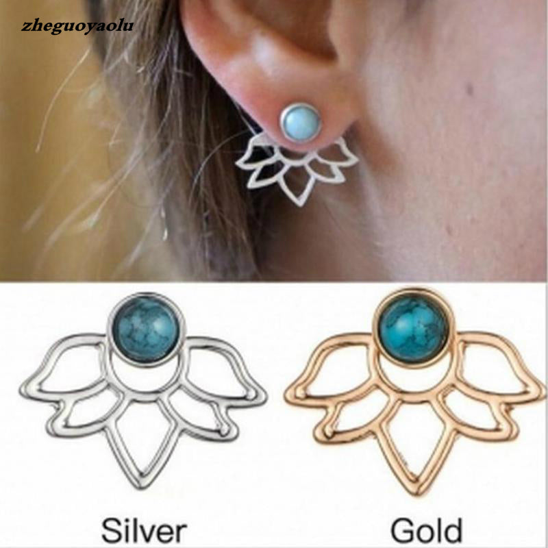 New Personality Unique Retro Green Stone Lotus Petal Hollow Leaf Earrings Boucle D'oreille Femme 2017 Earrings For Women Brincos