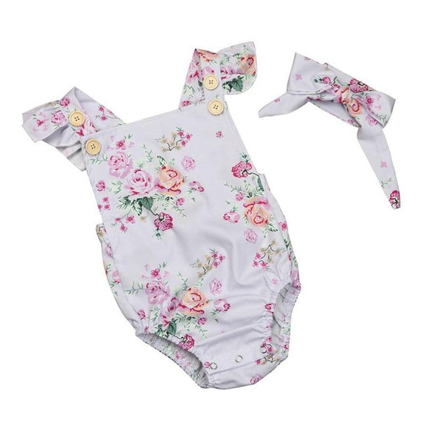 2PCS Cute Infant Baby Girls Floral Sleeveless Romper