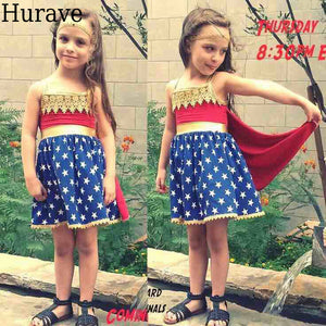 Wonder Woman Dresses Star Pattern Cloak Dresses