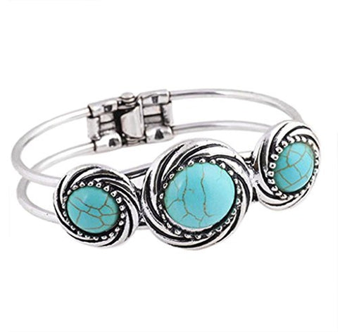 Bohemian Style Retro Cute Plating Lady Bracelet Turquoise Circle