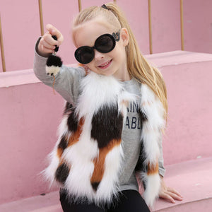 Kid Girl Autumn Winter Vest Faux Fur Waistcoat Thick Coat