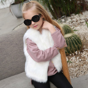 Kid Baby Girl Autumn Winter Faux Fur Waistcoat Thick Coat