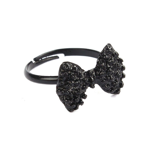 Hot Fashion Lovely Cute Black Bowknot Bow Tie Adjustable Ring Jewelry