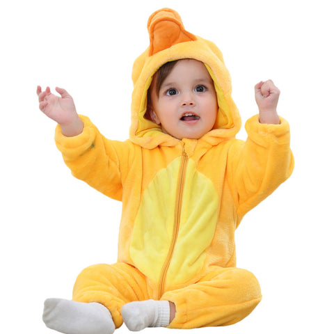 Baby rompers yellow Animal Cartoon  Hooded Rompers Outfits Clothes