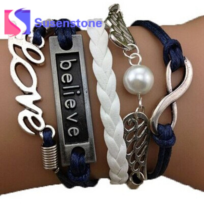 2017Hot Multilayer Leather Braided Bracelets Infinity Believe Love Imitation Pearl Jewelry Bracelet Bangle DIY Pulsera Wholesale