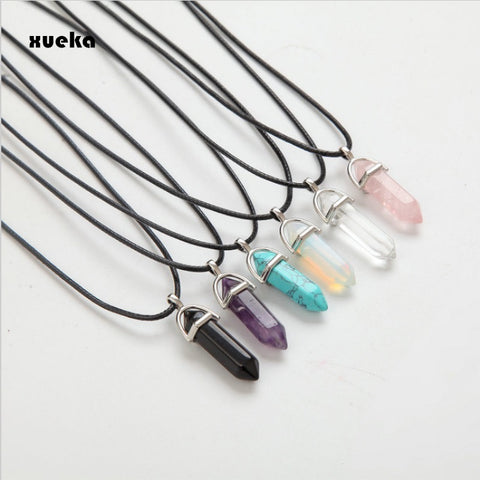 Hexagonal Column Necklaces Natural Crystal Pendants Pink Stone Pendant Leather Chains