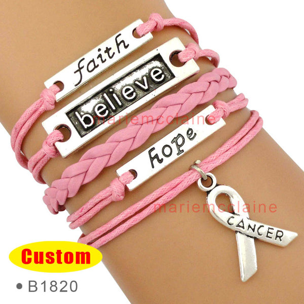 (10 PCS/lot) Faith Believe Hope Breast Cancer Ribbon Bracelets Survivor
