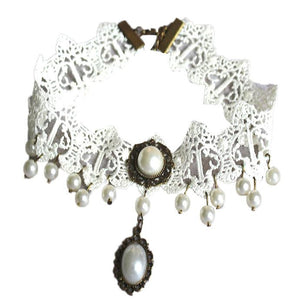 Handmade Gothic Retro Pearl Vintage Lace Collar Choker Necklace