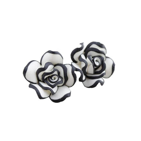 Elegant Cute Women Lady Girls Black White Rose Flower Stud Earrings