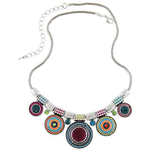 Choker Necklace Ethnic  Vintage  Plated Colorful Bead Pendant