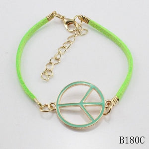 4 Colors Peace Sign Leather Gold Color Winter Jewelry