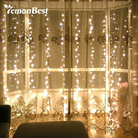 3*3m 300-LED Curtain Light Fairy Christmas Decorations for Home Party Wedding Outdoor Indoor String Lamp
