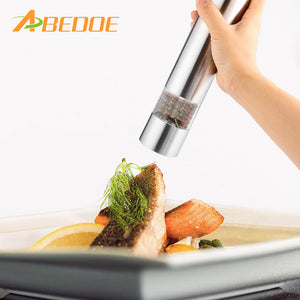 2 in 1 Electric Stainless Steel Pepper Mill Salt Spice Grinder Kitchen Tool Pepper Herb Mill