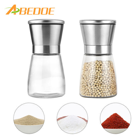 Stainless Steel Salt and Pepper Grinder Ceramic Rotor Lead-free Glass Fine to Coarse